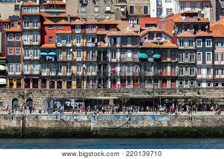 Porto, Portugal, August 16, 2017: View of the Porto's old town from across the Douro River