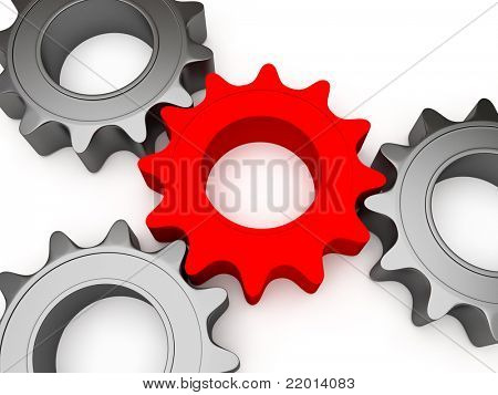 3d gears connected together, the central color is different