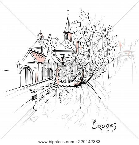 Vector scenic city sketch, view of Bruges canal with beautiful medieval houses and church, Belgium