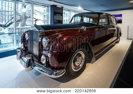 BERLIN - DECEMBER 21, 2017: Showroom. Ultra-exclusive four-door limousine Rolls-Royce Phantom V, 1961. Coachwork by Park Ward.