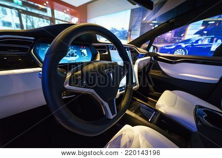 BERLIN - DECEMBER 21, 2017: Showroom. Interior of the full-sized, all-electric, luxury, crossover SUV Tesla Model X. Produced since 2016.
