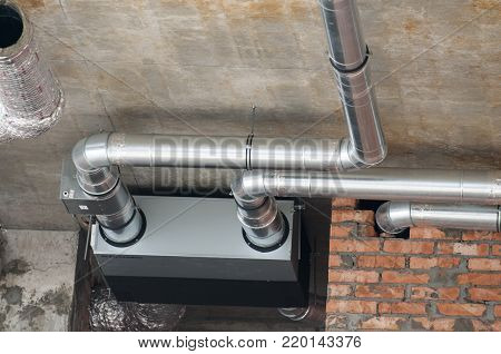 Ventilation pipes. Ventilation. Ventilation system in a new building under construction