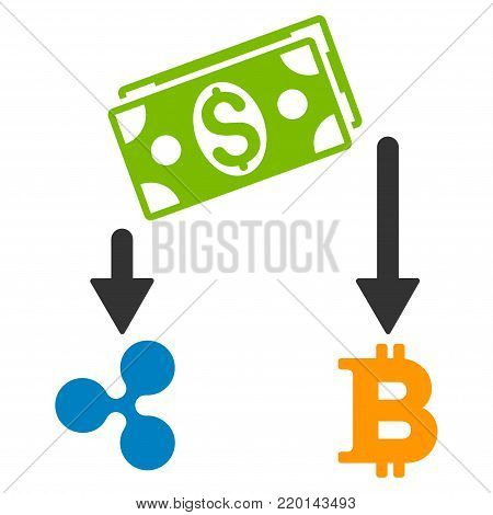 Cryptocurrency Cashflow flat vector illustration. An isolated icon on a white background.