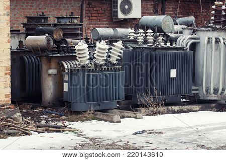 Storage of old transformers of voltage of an electrical substation