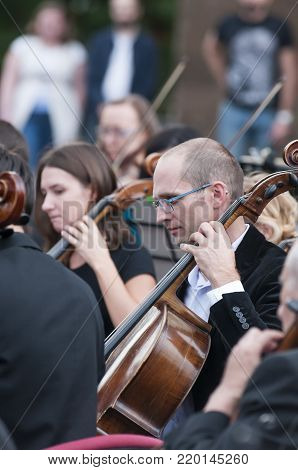ROSTOV-ON-DON, RUSSIA - 10 SEPTEMBER 2017. Performance of the Rostov Academic Symphony Orchestra on the Public Library site. Member of the orchestra.