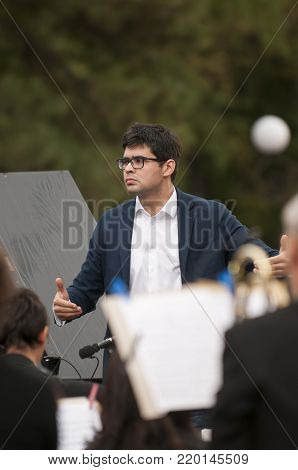 ROSTOV-ON-DON, RUSSIA - 10 SEPTEMBER 2017. Performance of the Rostov Academic Symphony Orchestra on the Public Library site. The conductor of orchestra. Valentin Uryupin.