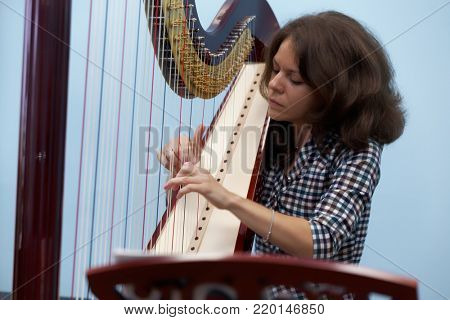ST. PETERSBURG, RUSSIA - AUGUST 8, 2017: Musician Elmira Martynenko demonstrates the sound of the harp produced in Resonance Harps enterprise. It revives the production of the Lunacharsky factory