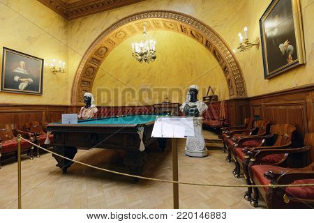 ST. PETERSBURG, RUSSIA - AUGUST 30, 2017: Interior of Turkish study in Yusupov palace used by last owner as billiards room. The palace is acclaimed as Encyclopedia of Petersburg aristocratic interior