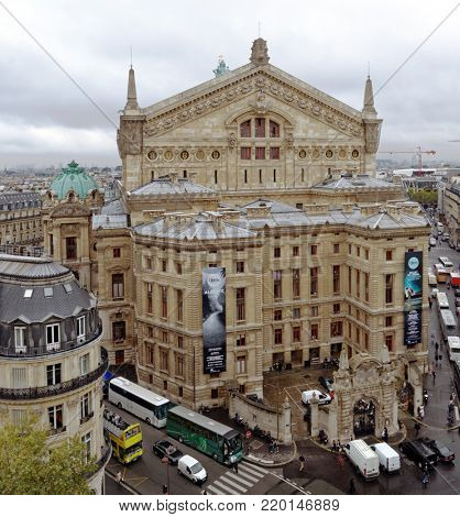 PARIS, FRANCE - SEPTEMBER 13, 2013: View to Palais Garnier, a 1,979-seat opera house built in 1861-1875 for the Paris Opera. Now in mainly used for ballet