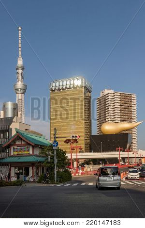 Tokyo -  Japan, June 19, 2017: Skyline with theTokyo Sky Tree and the Asahi beer tower at the east bank of the Sumida River in Sumida, Tokyo