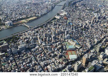 Tokyo -  Japan, June 19, 2017: Aerial view of  Shirahige Bridge over the Sumida River in Sumida, Tokyo