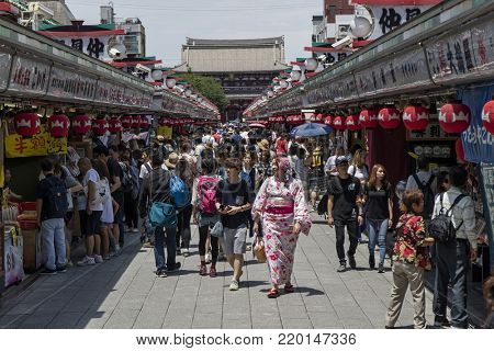 Tokyo - Japan, June 19, 2017; The approach from Kaminarimon Gate to Hozomon Gate is Nakamise dori, shopping street to the Senso-ji temple in Asakusa