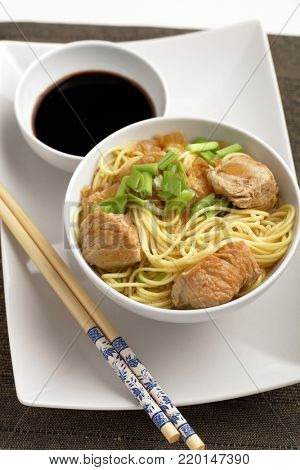 Udon noodle soup with chicken meat, green onion, and soy sauce