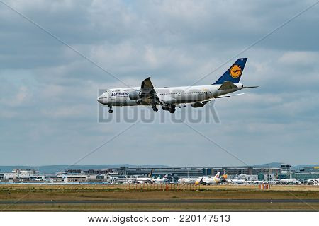 FRANKFURT,GERMANY: JUNE 23, 2017: Boeing 747 LUFTHANSA. Lufthansa, is the largest German airline and, when combined with its subsidiaries, also the largest airline in Europe