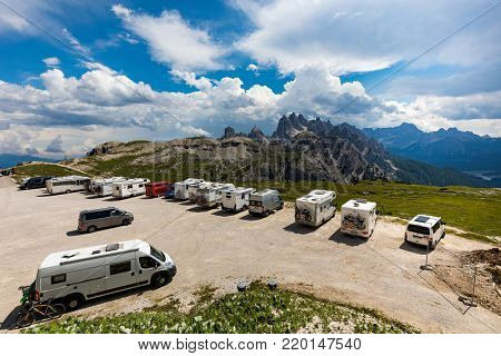 ITALY, Park Tre Cime: JULY 7, 2017: Viewing platform for motorhomes VR in National Nature Park Tre Cime In the Dolomites Alps. Beautiful nature of Italy.
