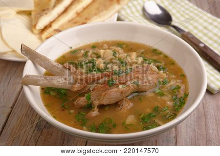 Soup Kharcho, the traditional Georgian soup with meat and rice