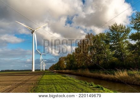 Large view on the windmills on the field