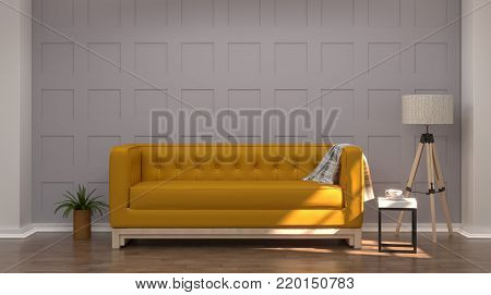 Vintage gray white room interior yellow sofa In front of gray wall modern mid Century room interior wooden floor