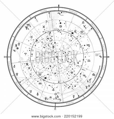 Astrological Celestial map of Northern Hemisphere. Horoscope on January 1, 2018 (00:00 GMT). Detailed outline chart with symbols and signs of Zodiac, planets, asteroids & etc.