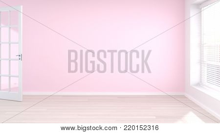 door is open in the empty pink and white wall modern style 3D rendering room is empty waiting for the interior design clean Wooden floor picture for copy space