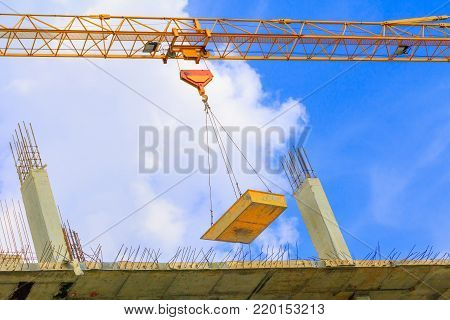 work construction in building high site workplace with copy space add text