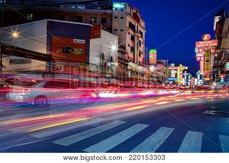 BANGKOK THAILAND - DEC30,2017 : traffic in yaowaratch road at rush hour ,yaowatch   district is most important china town in heart of thailand capital