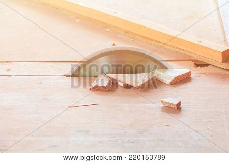 circular saw cut the wood on table with copy space add text
