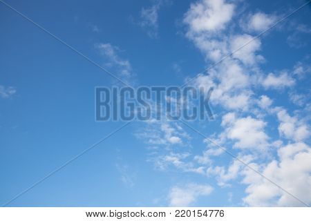 Beautiful puffy clouds and blue sky in sunny day