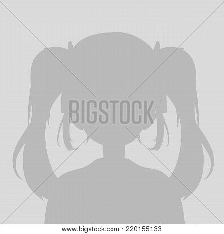Default avatar anime girl profile icon. Grey photo manga placeholder poster