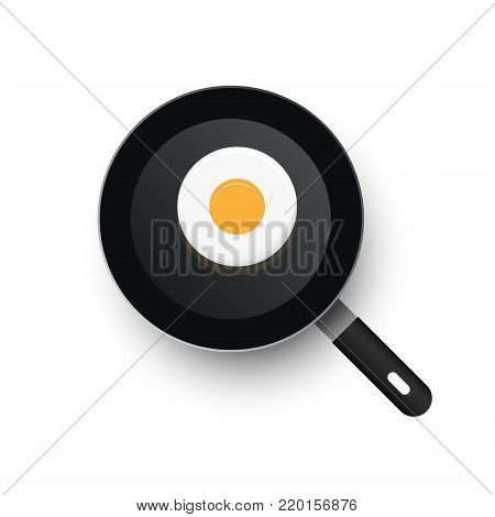 A realistic hot vector frying pan heated up. View from above. Smooth eggs in a frying pan.