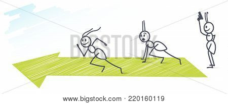 Three funny ants running one hundred meter  sprint