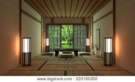 Room Design Japanese-style, modern style. 3D rendering