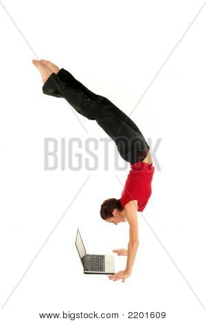 Woman Upside Down Using Laptop