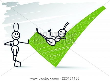 Funny 2 ants giving thumbs up and a checkmark
