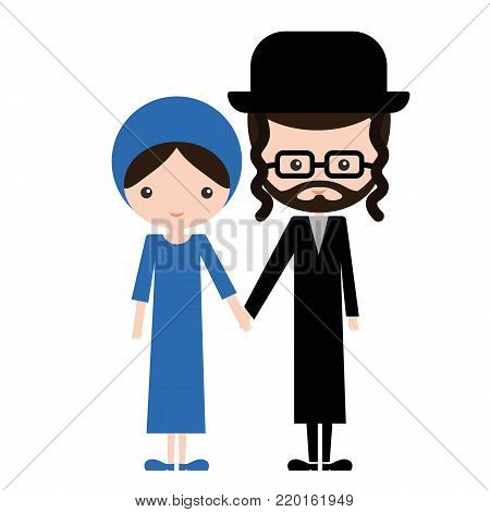 Happy jewish couple in traditional clothes. Bearded man in eyeglasses and hat with a religion woman. Israel orthodox family
