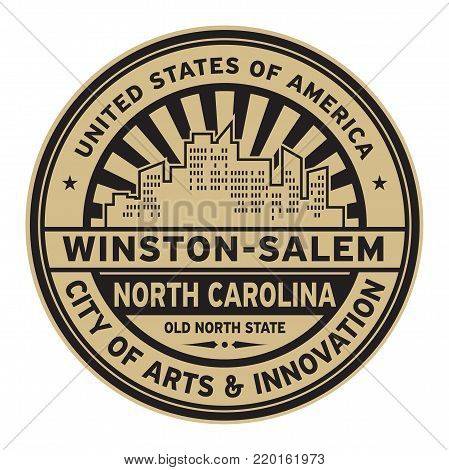 Stamp or label with text Winston-Salem, North Carolina written inside vector illustration