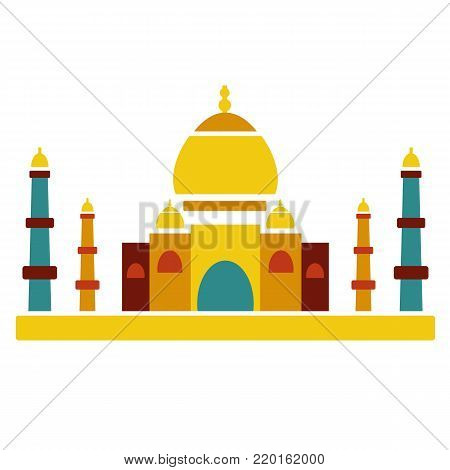 Taj Mahal famous culture indian architecture.  Religion building palace. Icon and symbol of india in traditional color drawing
