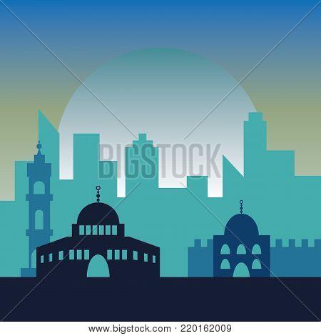 Night in Jerusalem. Jewish symbol city buildings. Poster of beautiful israel city