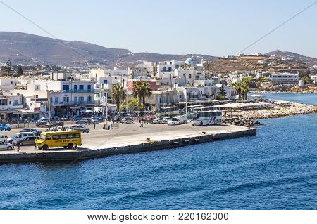 Parikia, Greece - September 02,  2017: Port and old town of Parikia , view from the sea, Paros island, Cyclades, Greece