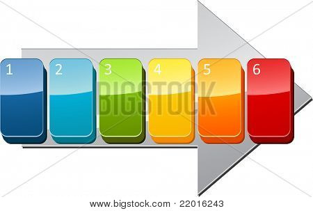 Six blank numbered sequential steps business diagram illustration poster