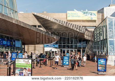 BOSTON MASSACHUSETTS USA 06.09.2017- entrance of the New England Aquarium in Boston