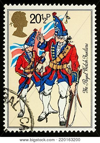 Moscow, Russia - December 31, 2017: A stamp printed in United Kingdom, shows uniform of Royal Welch fusiliers (circa 1750), series