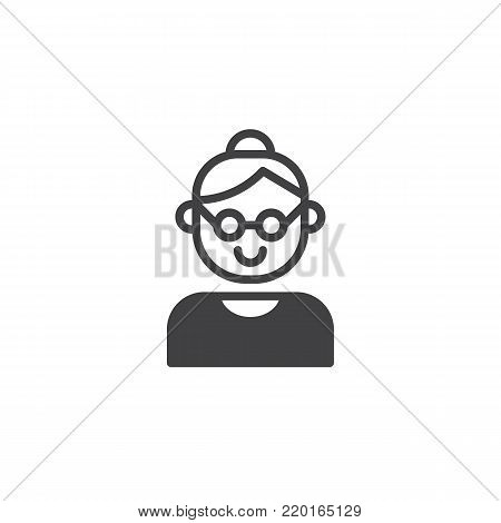 Grandmother icon vector, filled flat sign, solid pictogram isolated on white. Grandma symbol, logo illustration.