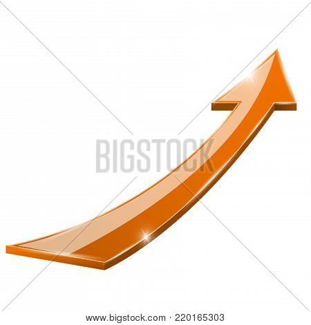 Moving up orange shiny arrow. Vector 3d illustration isolated on white background