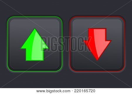 Black square button. UP and DOWN green and red push buttons. Vector 3d illustration