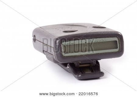 closer up of pager with white background
