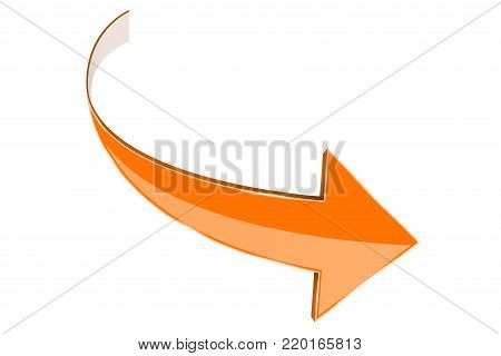 Orange arrow. Curved right sign. Vector illustration isolated on white background