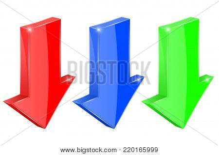 Downwards arrows. Colored 3d shiny icons. Vector illustration isolated on white background