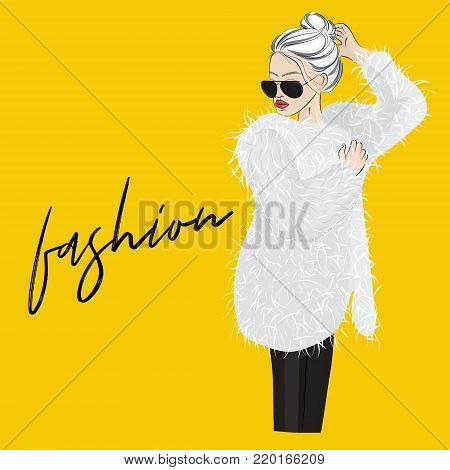 Vector glamour woman in fur coat with sunglasses. Street style fashion illustration. Luxury clothes stylish magazine design.  Fluffy coat look.