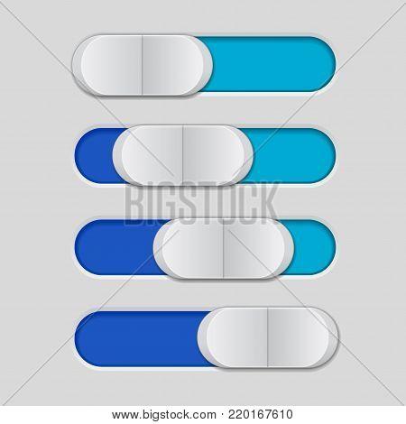 User interface slider. Blue control bar. Vector illustration